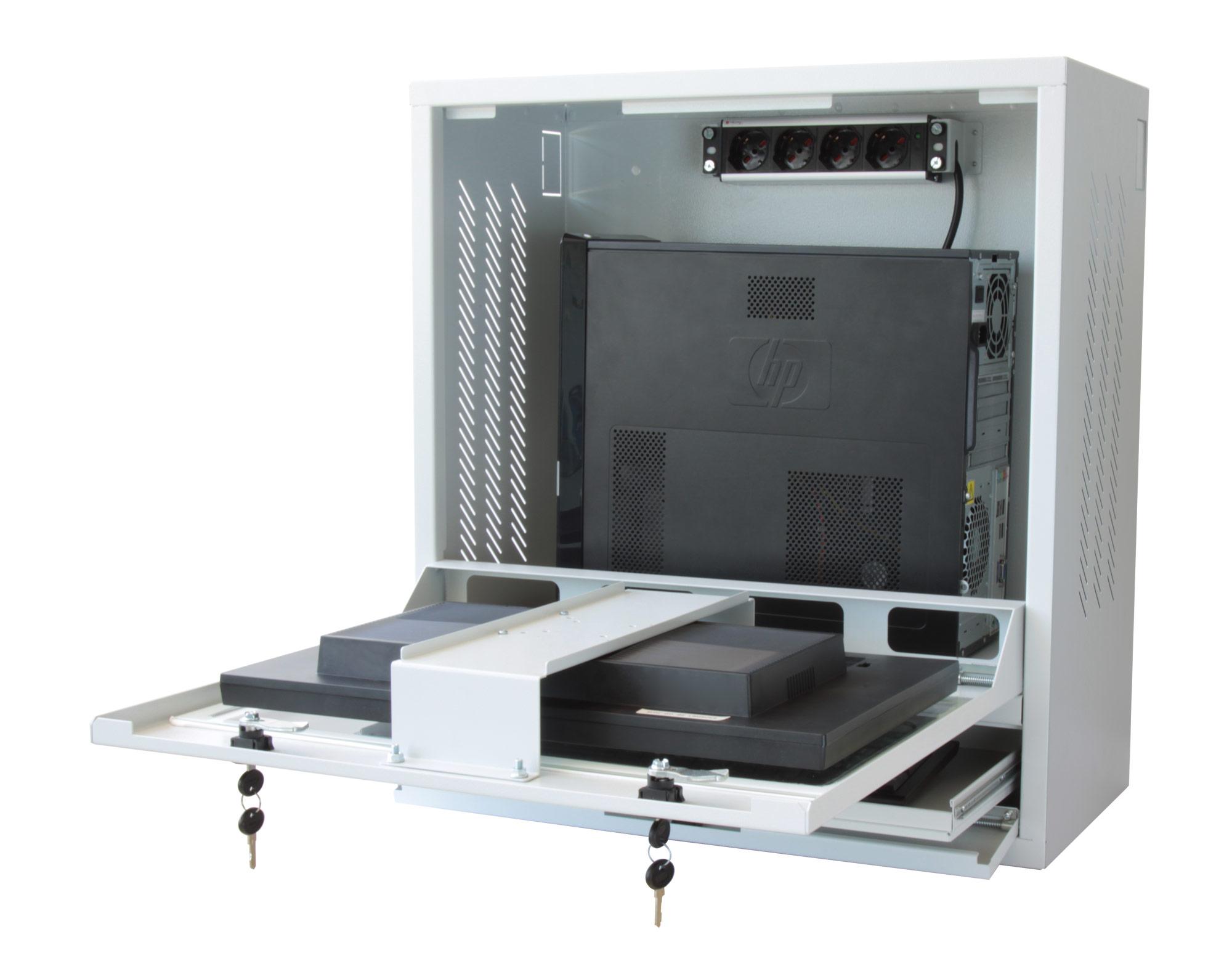Armadio di sicurezza per pc monitor lcd e tastiera grigio