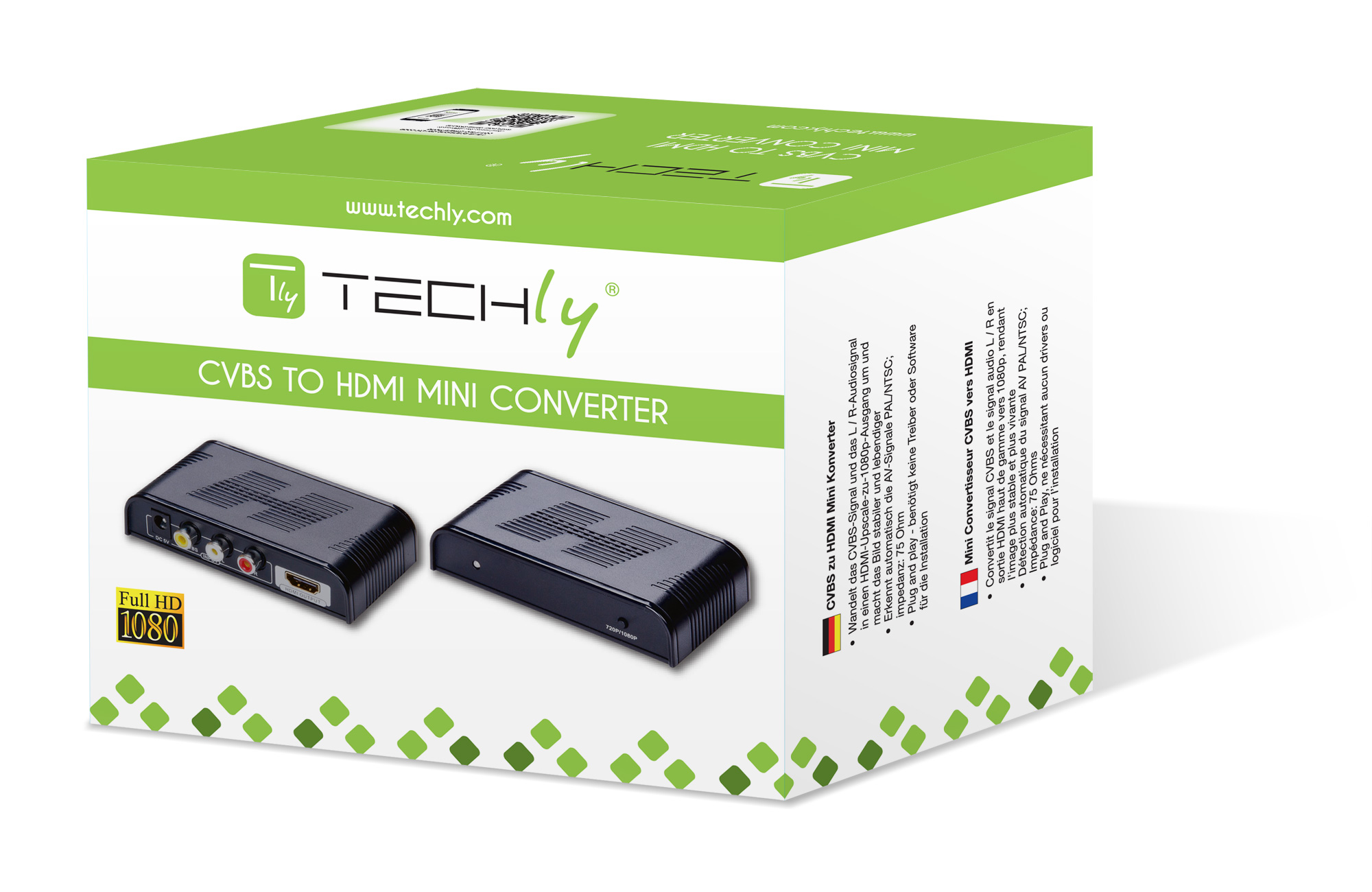 Composite Converter S-Video + Stereo Audio to HDMI with