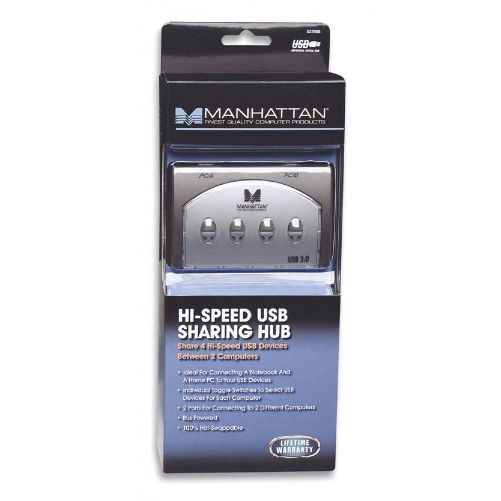 Switch USB 4 vie per 2 PC - Manhattan - IUSB-SW-MA-028-1