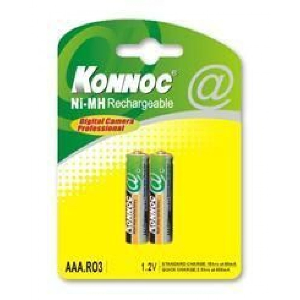 Blister 2 batterie mini stilo AAA 800 mAh - Konnoc Batteries - IBT-K800-B2-1