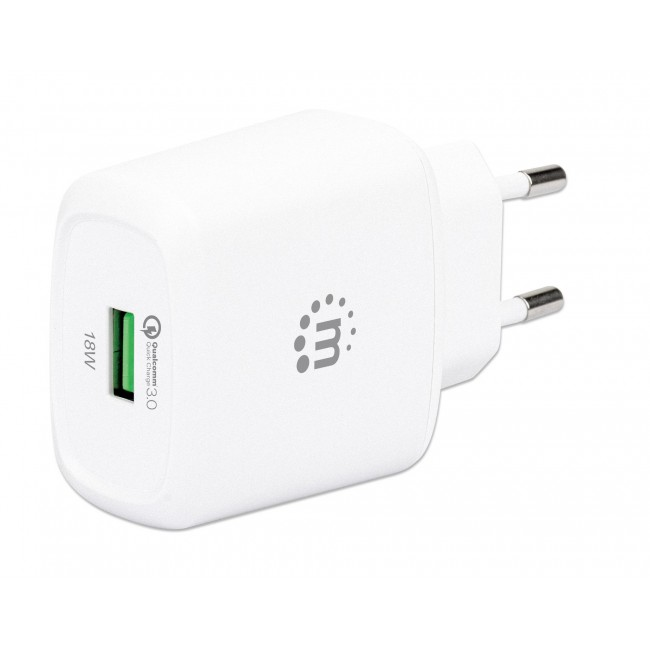 Caricatore USB da Muro QC3.0 18W Quick Charge™ Bianco - Manhattan - IPW-USB-QC3WH-1