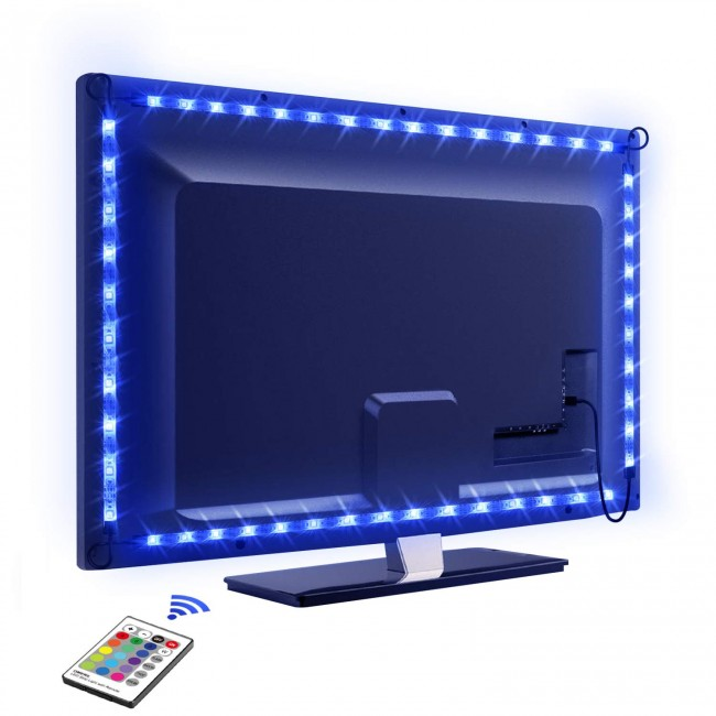 Striscia 30 LED RGB USB per Retro-illuminazione TV A++ - Techly Np - I-LED-TV-1