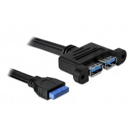 Cavo Interno USB3.0 19 pin Femmina / 2x USB A Femmina - Delock - ICOC USBH-302U3F