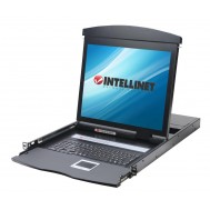 "Console KVM Switch 8 Porte USB/PS2 con LCD 19"" da Rack 19"" Dual Rail - Intellinet - IDATA KVM-DR19S8"