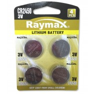 Batterie a Bottone Litio CR2450 (set 4 pz) - Raymax Batteries - IBT-KCR2450R