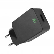 Caricatore USB 3A Quick Charge 3.0 Spina Europea 2pin Nero - Fontastic - IPW-USB-QC3BF
