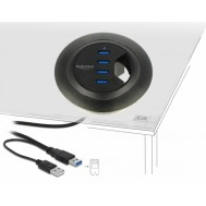 Hub USB 3.0 4 porte In-Desk Diametro 6 e 8 cm - Delock - IUSB3-HUB604P