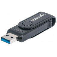 Mini Lettore/Scrittore di Card USB 3.0, 24 in 1 Nero - Manhattan - IUSB-CARD-981