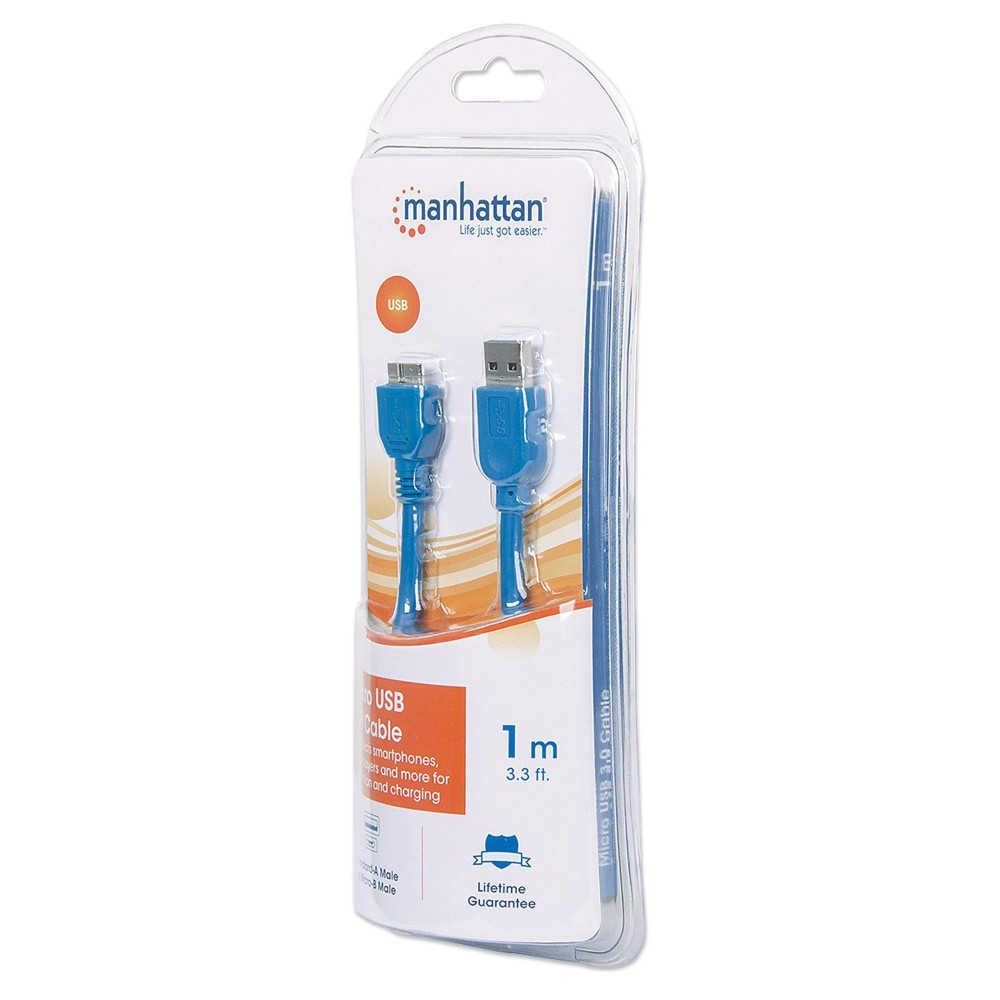 Cavo USB 3.0 SuperSpeed A/Micro B M/M 1 m Blu in Blister - Manhattan - ICOC MUSB3-A-010RB-1