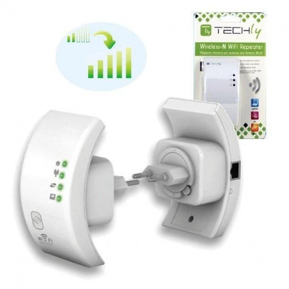 Ripetitore Wireless 300N Dual Band 2.4Ghz/5Ghz - Techly - I-WL-REPEATER3-1