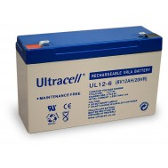 Batteria Ricaricabile 6V 12Ah, Ultracell UL12-6(Faston 187 - 4.8 mm) - Ultracell - IBT-PS-UL126