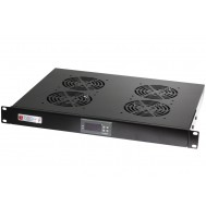 Gruppo 4 Ventole 1U per Rack 19 con Termostato LED Nero-Techly Professional-I-CASE FAN-TC4B
