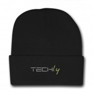 Berretto invernale a costine nero con logo Techly - Techly - I-TLY-BER