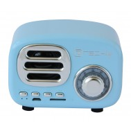 Radio Speaker Bluetooth Wireless, Design Radio Classico, azzurro - Techly - ICASBL12BLUE