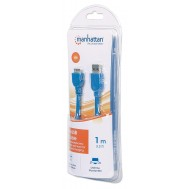 Cavo USB 3.0 SuperSpeed A/Micro B M/M 1 m Blu in Blister - Manhattan - ICOC MUSB3-A-010RB