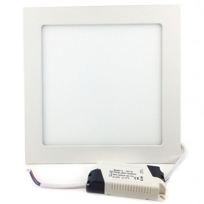 Pannello Luminoso a LED 15 x 15 cm 12W Bianco Caldo - Techly - I-LED-PAN-12W-WWS-1