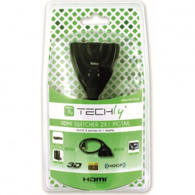 Switch HMDI 2 IN 1 OUT Full HD 1080p 3D - Techly - IDATA HDMI-21D-1