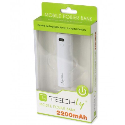 Carica Batterie Power Bank per Smartphone 2200 mAh USB Bianco - Techly - I-CHARGE-2200TY-1