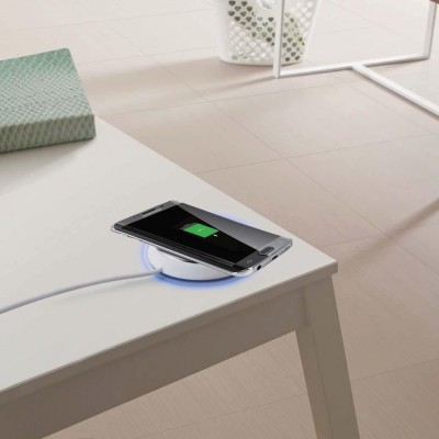 Caricabatterie Wireless Qi Base Circolare per Smartphone Bianco - Techly Np - I-CHARGE-WRLW-3