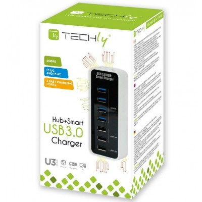 Hub 4 Porte USB 3.0 Super Speed + Caricabatterie USB 1A/2A - Techly - IUSB3-TLYBV7-1