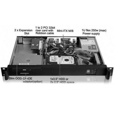 Chassis Rack 19''/Desktop 1U Ultra Compatto con Alimentatore - Techly - I-CASE IPC-130-5