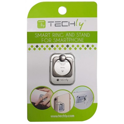 Anello e Supporto per Smartphone Silver - Techly - I-SMART-RINGS-1