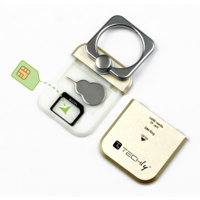 Anello e Supporto per Smartphone Oro - Techly - I-SMART-RINGG-8