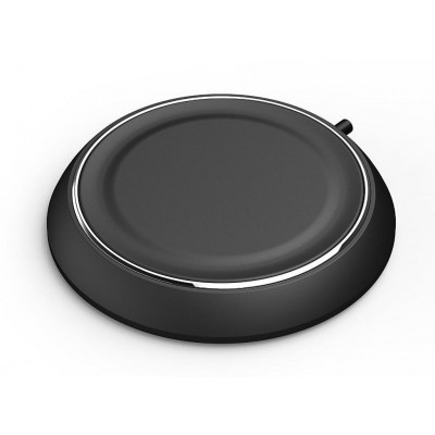 Caricabatterie Wireless Qi Base Circolare per Smartphone Nero - Techly Np - I-CHARGE-WRLB-3