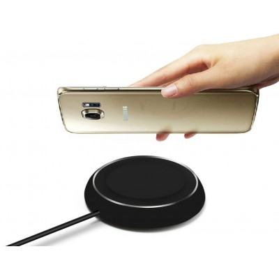 Caricabatterie Wireless Qi Base Circolare per Smartphone Nero - Techly Np - I-CHARGE-WRLB-2