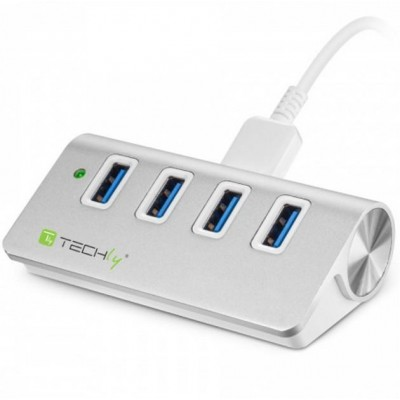 Hub USB 3.0 Super Speed 4 Porte A Femmina in Alluminio - Techly - IUSB3-TLY430-1
