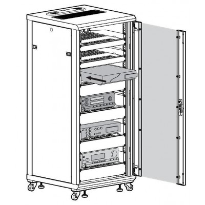 "Armadio Rack 19"" 600x600 27U per Audio Video Nero - Techly Professional - I-CASE AV-2127BKTY-8"