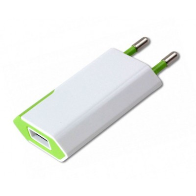 Caricatore USB 1A Compatto Spina Europea Bianco/Verde - Techly - IPW-USB-ECWG-1