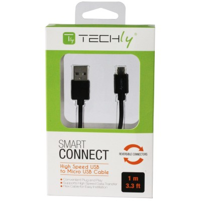 Cavo High Speed USB a MicroUSB Reversibile 0,6m Nero - Techly - ICOC MUSB-A-006S-1