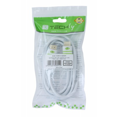 Cavo HDMI High Speed con Ethernet A/A M/M 2 m Bianco - Techly - ICOC HDMI-4-020WH-1