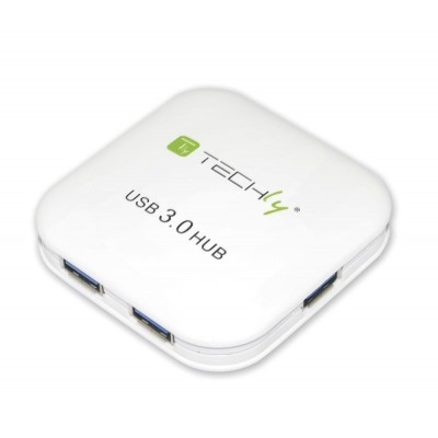 Hub USB 3.0 Super Speed 4 Porte Bianco - Techly - IUSB3-HUB4-WH-2