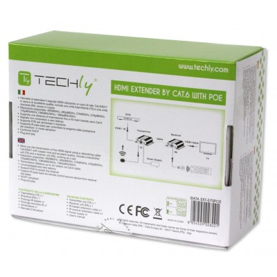 Extender HDMI Full HD su cavo Cat.6/6A/7 con POE - Techly - IDATA EXT-E70POE-6