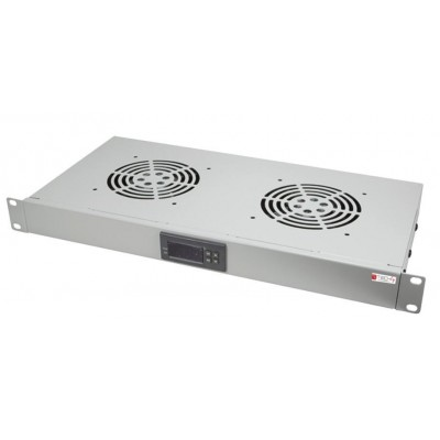 "Gruppo 2 Ventole 1U per Rack 19"" con Termostato LED Grigio - Techly Professional - I-CASE FAN-TC2G-1"