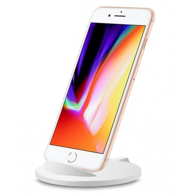 Caricabatterie Wireless Qi Stand Stondato 5W Bianco - Techly - I-CHARGE-WRM-5W-0