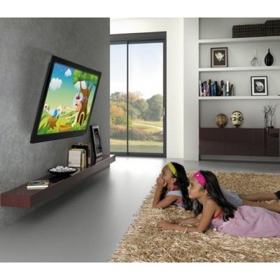 "Supporto a Muro con Molla a Gas per TV Curve/Piatte 23-55"" 565mm Nero - Techly Np - ICA-LCD G442-BK-4"