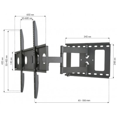 Supporto a Muro per TV LED LCD 32-65'' Estensibile Slim Full-Motion - Techly - ICA-PLB 148L-3