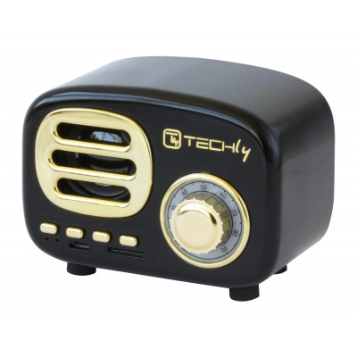 Radio Speaker Bluetooth Wireless, Design Radio Classico, nero - Techly - ICASBL12BKT-3
