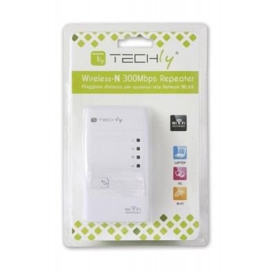 Ripetitore Wireless 300N (Range Extender) con WPS, spina UK - Techly - I-WL-REPEATER/UK-1