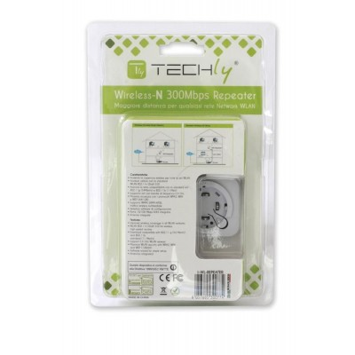 Ripetitore Wireless 300N (Range Extender) con WPS - Techly - I-WL-REPEATER-13