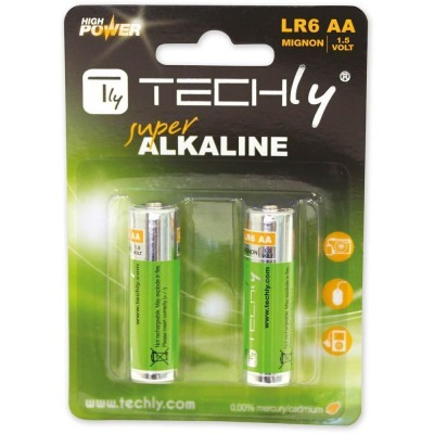 Blister 2 Batterie High Power AA Stilo Alcaline LR06 1,5V - Techly - IBT-KAL-LR06-B2T-1