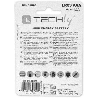 Blister 4 Batterie High Power Mini Stilo AAA Alcaline LR03 1.5V - Techly - IBT-KAL-LR03T-1