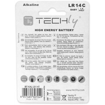 Blister 2 Batterie High Power Mezza Torcia C Alcaline LR14 1,5V - Techly - IBT-KAL-LR14T-1
