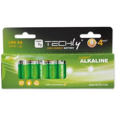 Blister 12 Batterie High Power Stilo AA Alcaline LR06 1,5V - Techly - IBT-KAL-LR06-B12T-1