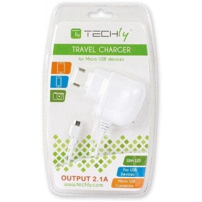 Caricabatterie USB 120-240V 2A per Smartphone e Tablet Bianco - Techly - IPW-USB-MICRO2W-1