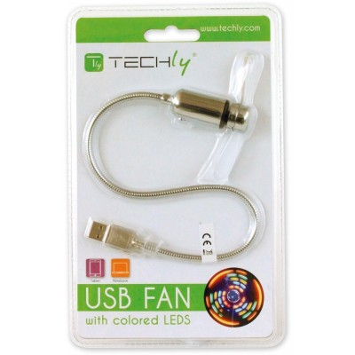 Ventola USB 2.0 con 5 LED Colorati  - Techly - IUSB-FAN3-1