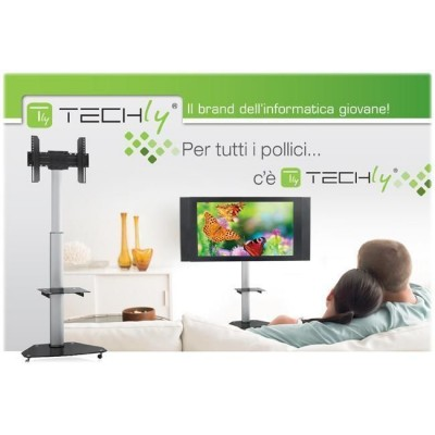"Supporto a Pavimento con Mensola Trolley TV LCD/LED/Plasma 37-70"" - Techly - ICA-TR3-1"